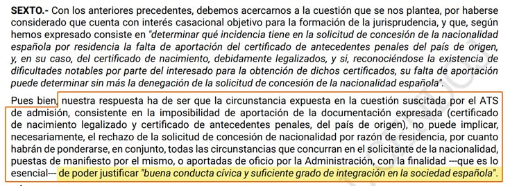 sentencia de nacionalidad española por razón de residencia a favor de un militar Argelino